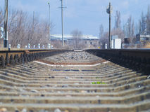 Rails of the railroad go somewhere far away. The rails of the railroad go somewhere far away royalty free stock photos