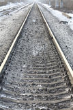 Rails railroad tracks winter time Royalty Free Stock Photography