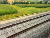 Rails of railroad. train Stock Photo