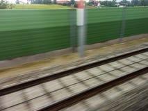 Rails of railroad. train Royalty Free Stock Photos