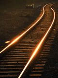 Rails / railway. Prospect of a railroad tracks coiling a zigzag Royalty Free Stock Photography