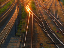 Rails / railway. Prospect of a railroad / railway branching Royalty Free Stock Images