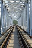 Rails of railway bridge, stretching into perspective Stock Photography