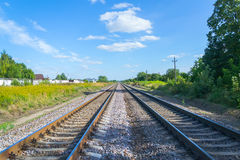 Rails. Recede into the distance Stock Photos