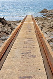 Rails for rescue ship in Goury Stock Image