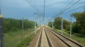 Rails of running away train. View at the rails of running away train stock video footage
