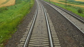 Rails of running away train. View at the rails of running away train stock footage