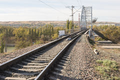 Rails running on railway bridge across the Volga-Don canal, Volgograd Stock Photos