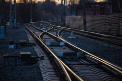 Rails with a selective focus. On sunset Stock Photo