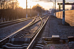 Rails with a selective focus. On sunset Stock Photography