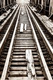 Rails and sleepers of the old railway bridge Royalty Free Stock Image