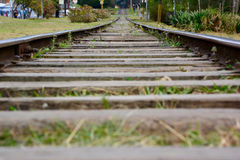 Rails and sleepers from an old railway Royalty Free Stock Photo
