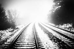 Rails and snow Royalty Free Stock Photos