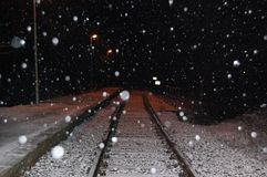 Rails in snowfall Stock Photo