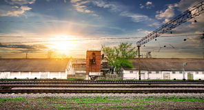 Rails and station Royalty Free Stock Photos