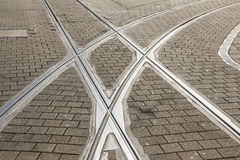 Rails of streetcar in old cobble Royalty Free Stock Photography