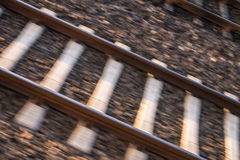 Rails. Top view while driving Royalty Free Stock Photos