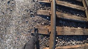 Rails. Tracks, railway, track, steel , train route, concrete sleepers, railway road,The track on a railway or railroad, also known as the permanent way, is the royalty free stock images
