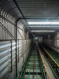 Rails of the tram uphill in tunnel stock images