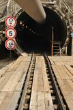 The rails are under construction in the tunnel Stock Images