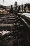 Rails in foggy weather royalty free stock photo