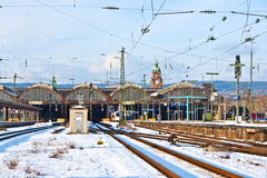 Rails in winter at the station Royalty Free Stock Images