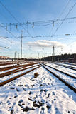 Rails in winter at the station Stock Images