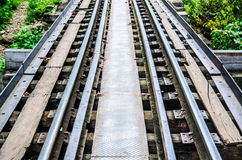 Rails with wooden sleepers Royalty Free Stock Photo