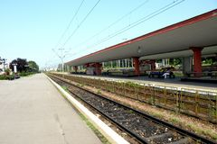 Railstation在布拉索夫(Kronstadt), Transilvania,罗马尼亚 免版税图库摄影