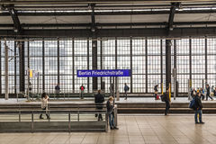 Railstation Berlin Friedrichstrasse with people waiting for trai Royalty Free Stock Photo