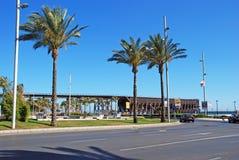 Railtrack jetty and palm trees, Almeria. Royalty Free Stock Image