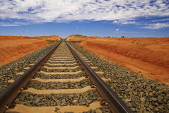 Railtracks In Australian Outback Stock Image