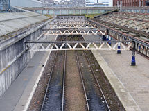 Railtracks at deserted railway station Royalty Free Stock Photography