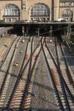 Railtracks i bussgarage Royaltyfria Foton