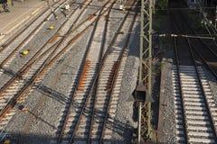 Railtracks i bussgarage Royaltyfri Fotografi