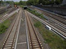 Railtracks i bussgarage Arkivbilder