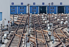 Railtracks i gångtunnelbussgarage Kiev Ukraina arkivfoto