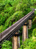 Railtrain. Across forest in thailand royalty free stock photo