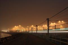 Railway на ноче Стоковое Изображение RF