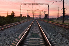 The railway. In the early morning on sunrise Royalty Free Stock Image