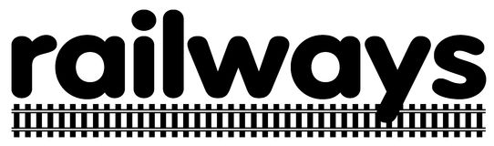 Railway. Clipart showing the word railways with an image of rails under the word Stock Image