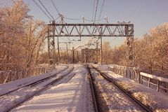 Railway. Panorama at good weather, a picturesque site Royalty Free Stock Photography
