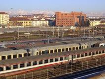 Railway. Or railroad tracks for train transportation Royalty Free Stock Photo