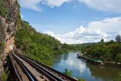 Railway. The death railway in west of thailand Royalty Free Stock Images