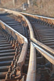 Railway. Two train lines clasped making only one Royalty Free Stock Images
