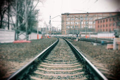 Railway. Long railway in a gloomy day Royalty Free Stock Photography