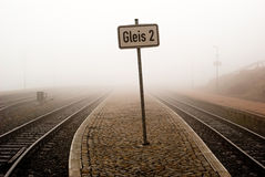 Railway. A sign on a railway track in the fog Stock Photo