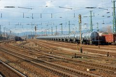 Railway. Complex railwaytrack system with some trains Stock Photo