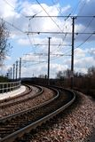 Railway. Track with long curve Royalty Free Stock Images