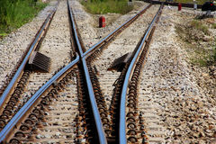 Railway. Junction in horizontal,Thailand stock photos
